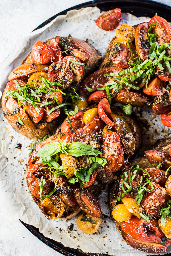 This Easy Warm Bruschetta Dinner is the ultimate weeknight recipe. It's grown up version of tomato cheese toasts that everyone will love.  | theendlessmeal.com