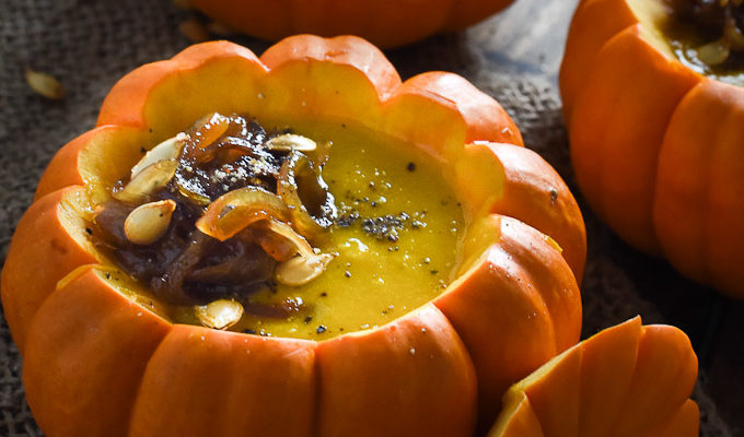 Curried Pumpkin Soup with Maple Ginger Caramelized Onions | theendlessmeal.com