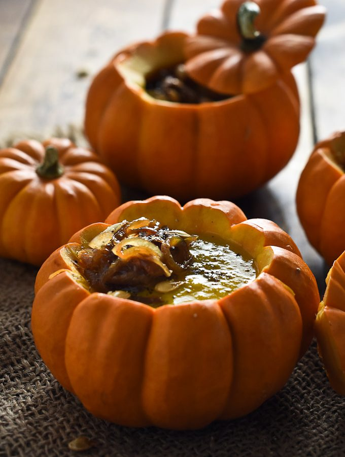 ? Curried Pumpkin Soup with Maple Ginger Caramelized Onions | theendlessmeal.com