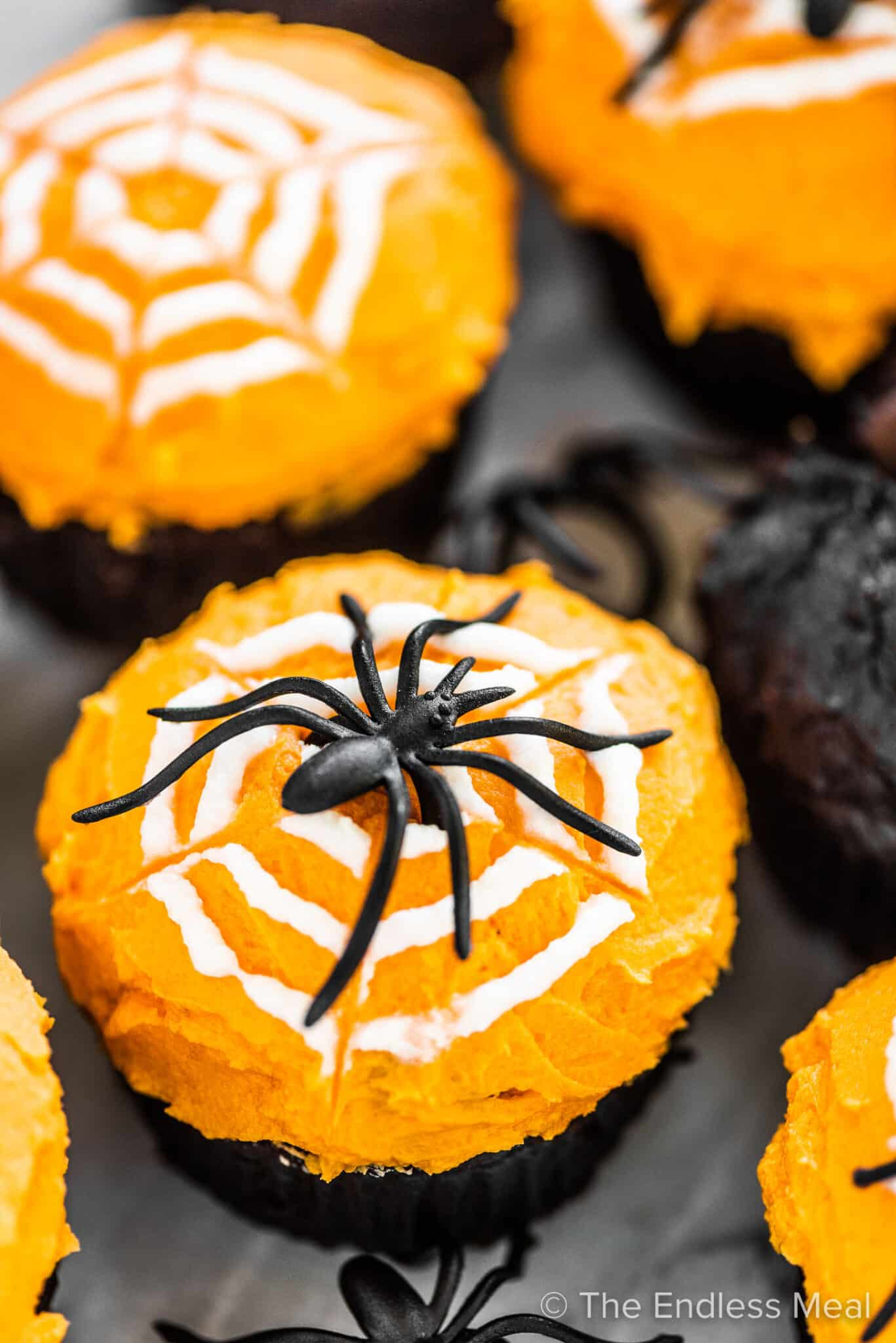 Pumpkin chocolate cupcakes decorated with orange icing an a spider web and spider on top.