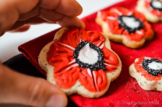 A hand holding a lemon sugar poppy cookie for Remembrance Day.