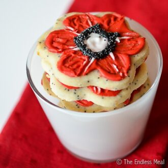 A stack of lemon sugar poppy cookies for Remembrance Day.