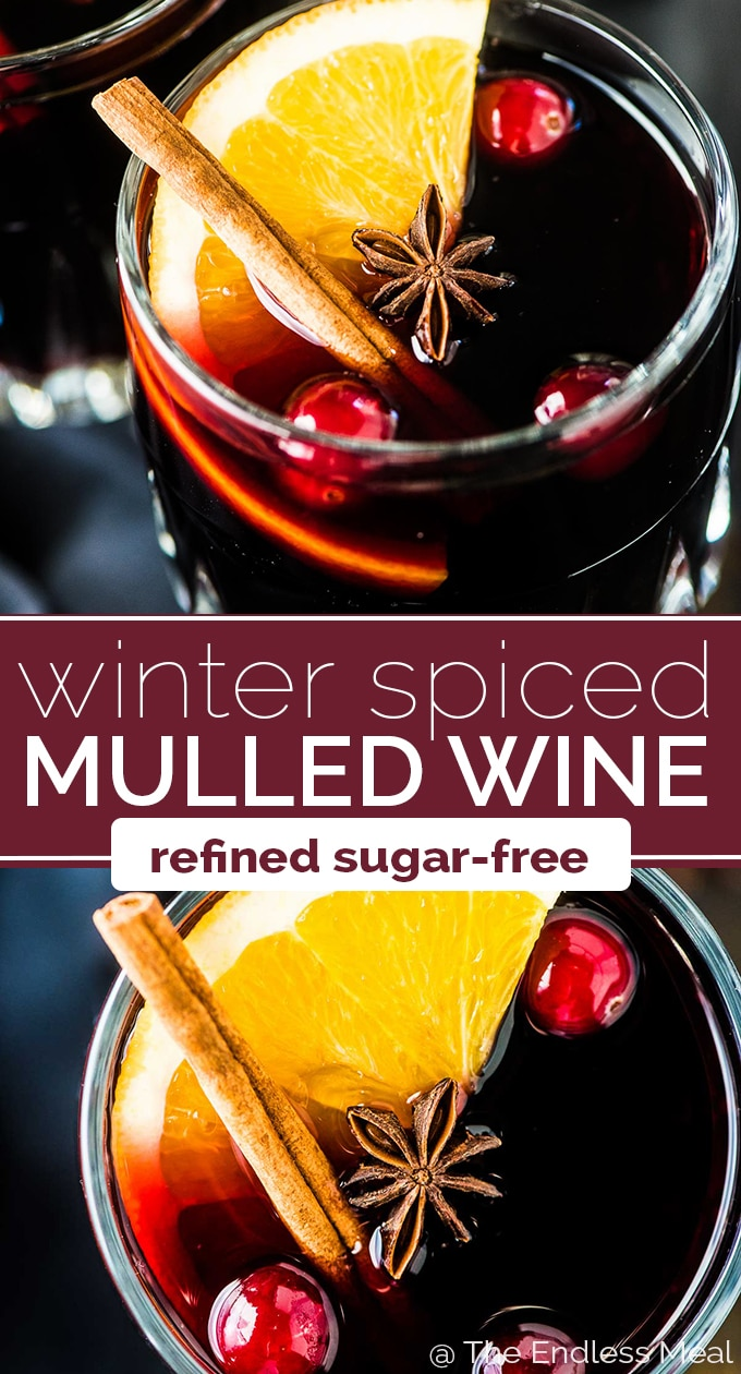 SAVE FOR LATER! Mulled wine is a must during the holidays. We've been making this recipe for years and it never disappoints. It's easy to make, perfectly spiced, and tastes like Christmas. Bonus: we make it with maple syrup for extra rich flavor and so it's refined sugar-free. | vegan + gluten-free + refined sugar-free | #theendlessmeal #wine #mulledwine #christmas #brandy #holidays #glogg #redwine #warmwine #cocktail #christmascocktail #drink #refinedsugarfree #vegan #glutenfree #maplesyrup
