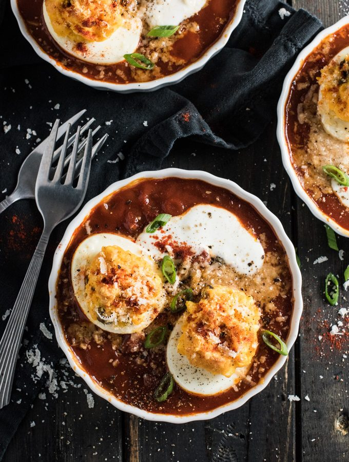 Baked Spanish Deviled Eggs in Tomato Sauce