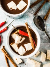 Want the best hot cocoa recipe ever? I thought you might! This spicy Aztec Hot Chocolate is my all-time favorite. It's made with real chocolate, spiced with cinnamon and vanilla, and has a little kick from a chili pepper. It's the best! | theendlessmeal.com