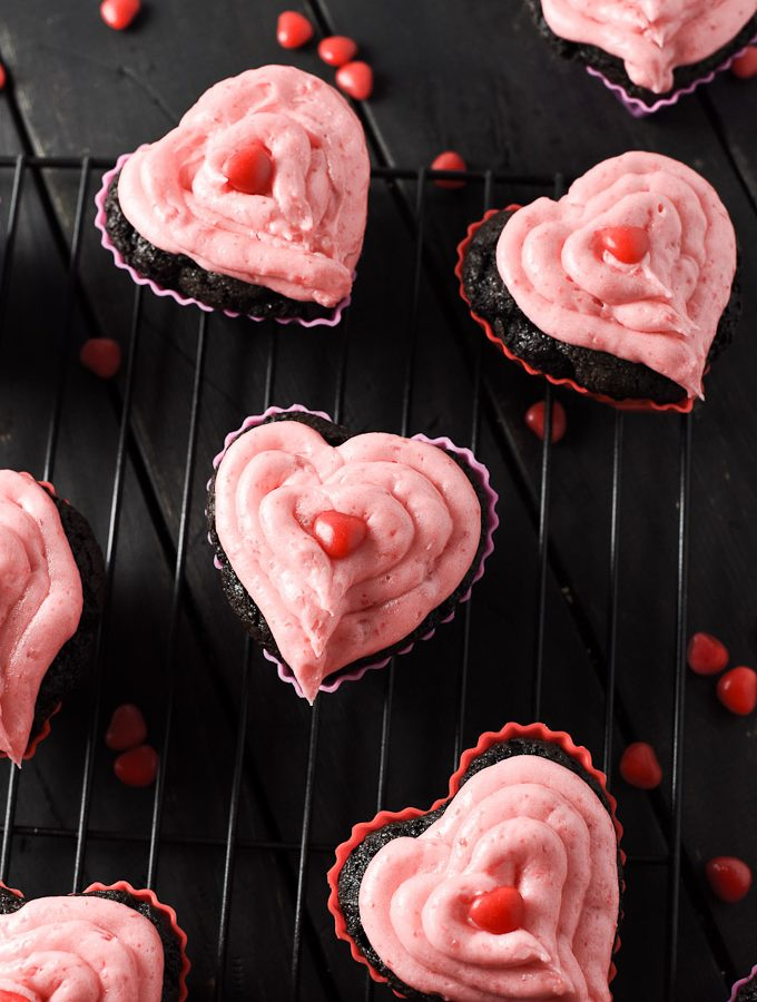 Valentine's Day Cupcakes with Dark Chocolate and Cinnamon Hearts