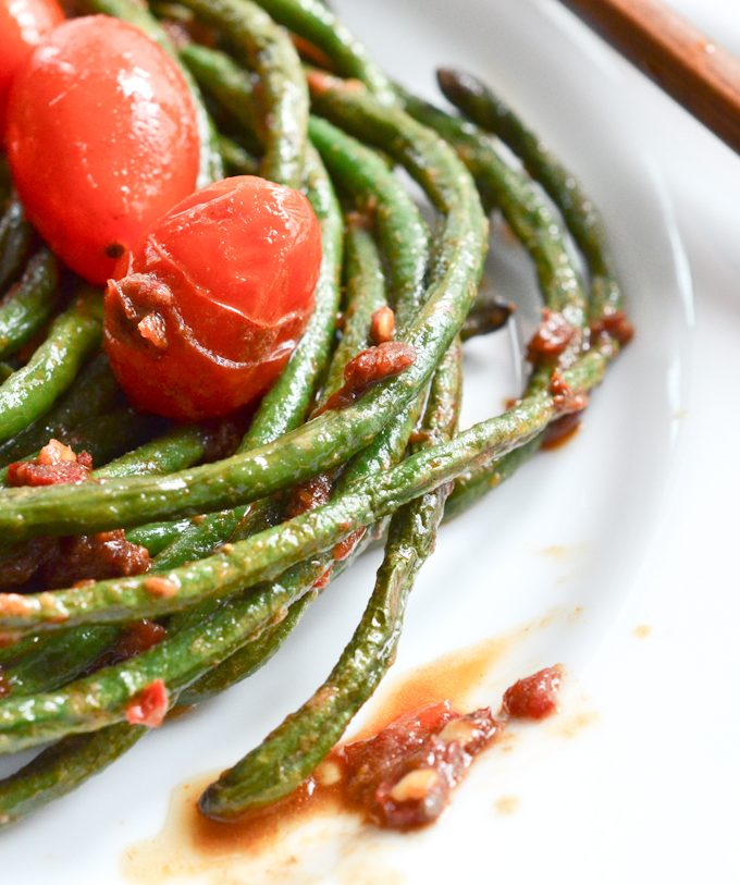 Long Green Beans with Anchovies and Sriracha