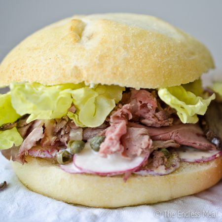 Roast Beef Sandwich with Radishes and Spicy Wasabi
