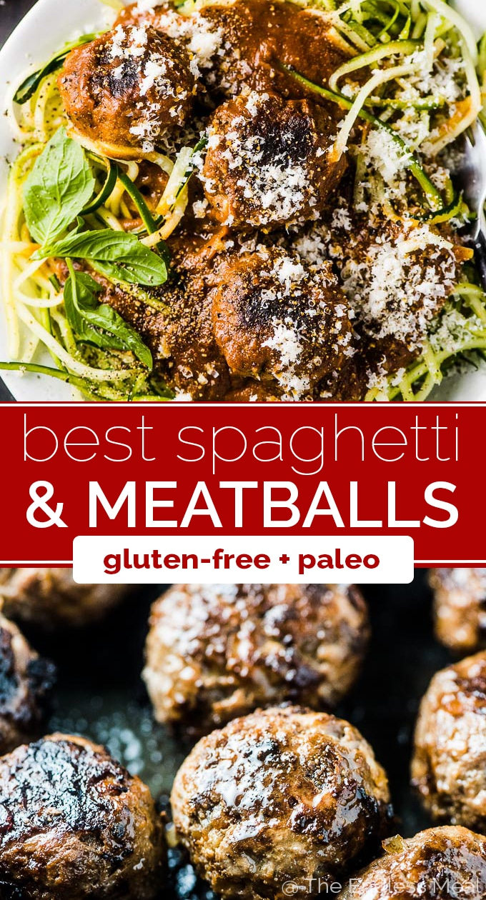 SAVE FOR LATER! If you're looking for the Best Spaghetti and Meatballs Recipe, you've just found it! Tomatoes, garlic, and onion are roasted in the oven until super caramelized then blended and poured over tender meatballs. Serve the ridiculously delicious sauce and meatballs over spaghetti, gluten-free spaghetti, or zoodles. Either way, you'll LOVE it! | gluten-free + paleo | #theendlessmeal #spaghetti #meatballs #spaghettiandmeatballs #pasta #paleo #zoodles #glutenfree
