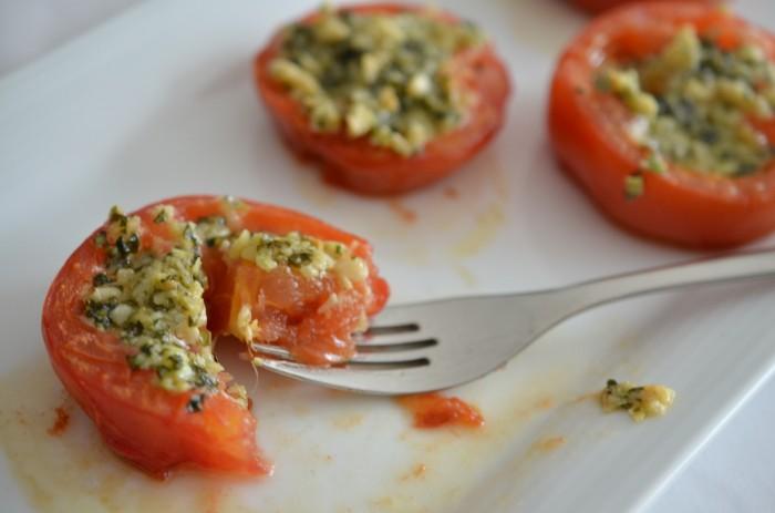 Pesto Stuffed Roasted Tomatoes