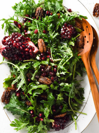 Baby Kale Salad with Pomegranate Seeds and Spicy Candied Pecans | theendlessmeal.com