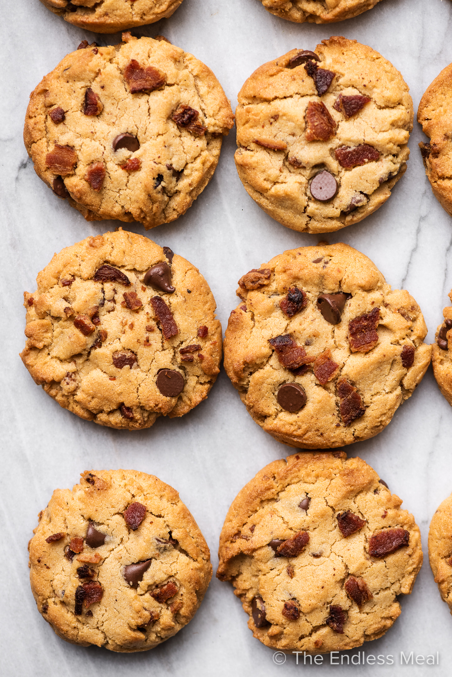 A close up of Bourbon Bacon Peanut Butter Cookies.