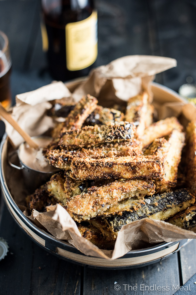 Eggplant fries piled high on a plate.