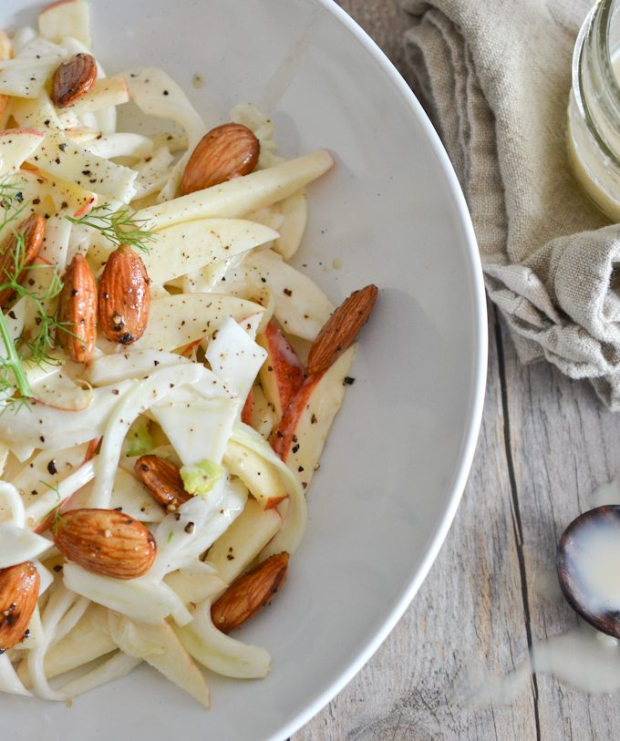 Shaved Fennel and Apple Coleslaw with Spicy Candied Almonds