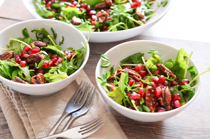 Baby Kale Salad with Pomegranate Seeds and Spicy Candied Pecans