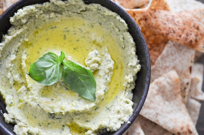 Pesto Hummus with Homemade Pita Chips