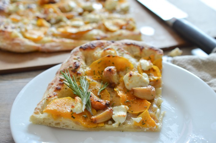 Pizza Night: Roasted Garlic, Butternut Squash and Goat Cheese