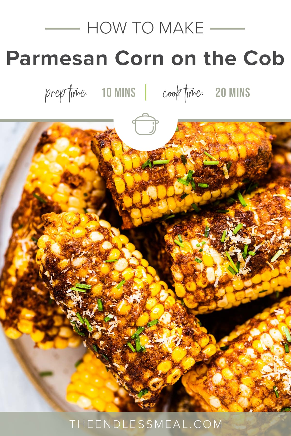Cheesy corn on the cob piled high on a plate with the recipe title on top of the picture.