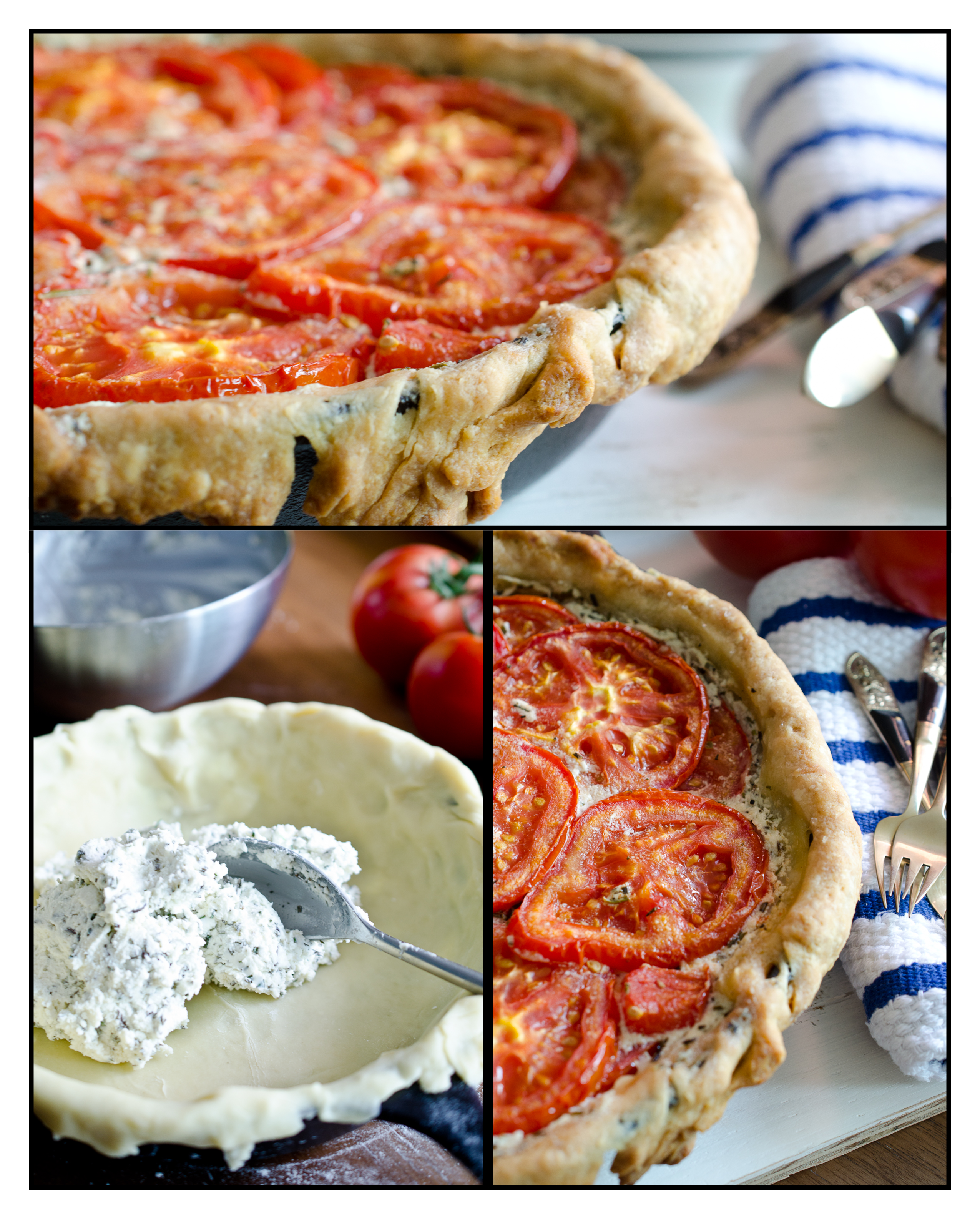A collage of pictures while making the tomato pie.