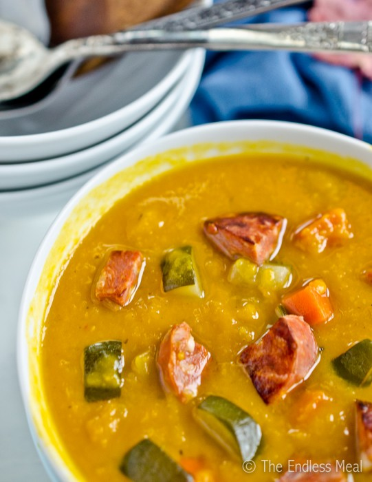 Roasted Squash Soup with Chorizo and Vegetables