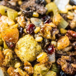 A close up shot of The Best Stuffing Recipe Ever.
