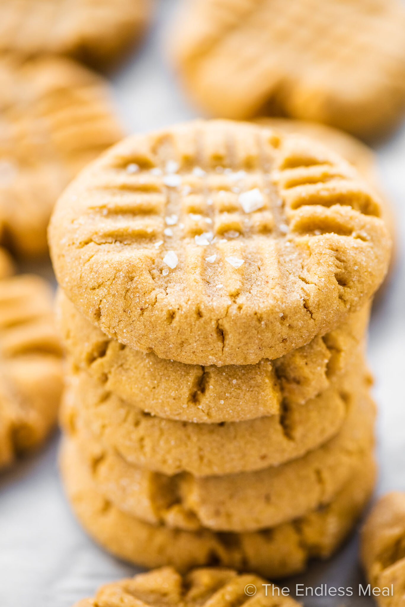 A stack of chewy peanut butter cookies.