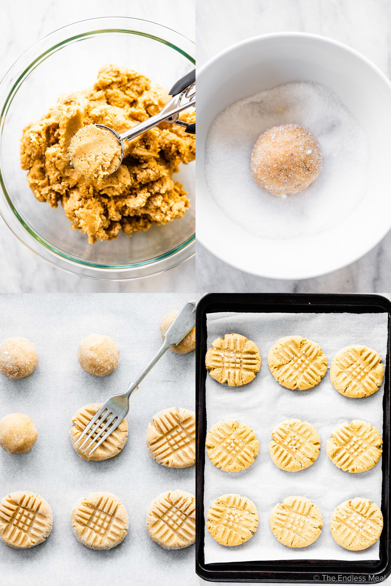 4 pictures showing how to make chewy peanut butter cookies.
