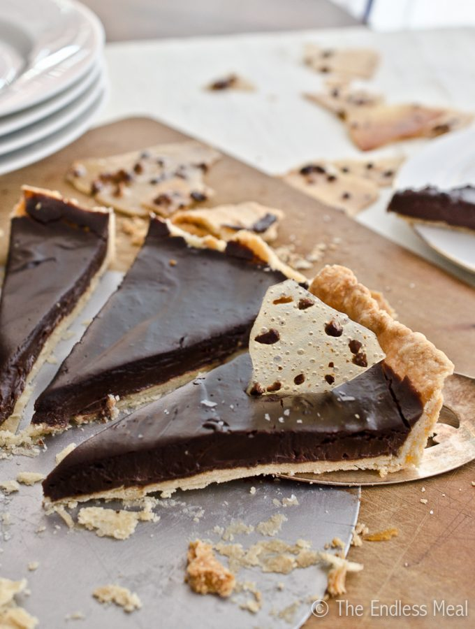Dark Chocolate Pie with Cocoa Nib and Bacon Praline