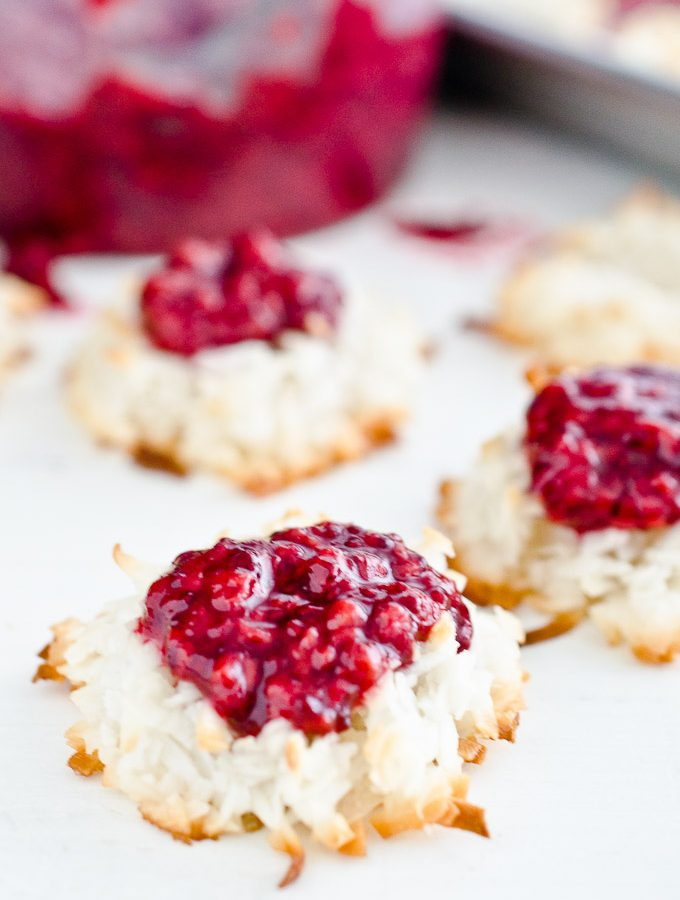 Gluten Free Macaroons with Raspberry Chia Seed Jam | theendlessmeal.com