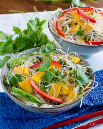 Cold Thai Noodle Salad with Mangoes and Mint {vegan and gluten free}