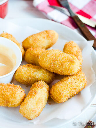 Potato Croquettes with Sweet Sriracha Mayo
