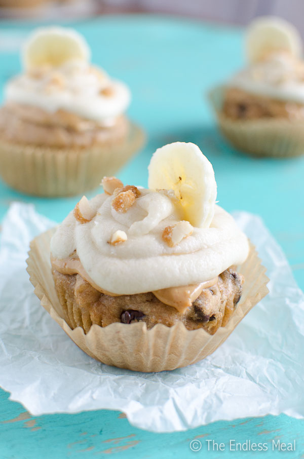 Peanut Butter Banana Cupcakes with Banana Frosting