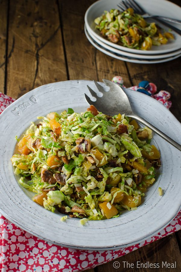 Shredded Brussels Sprouts Salad with Bacon and Apricots