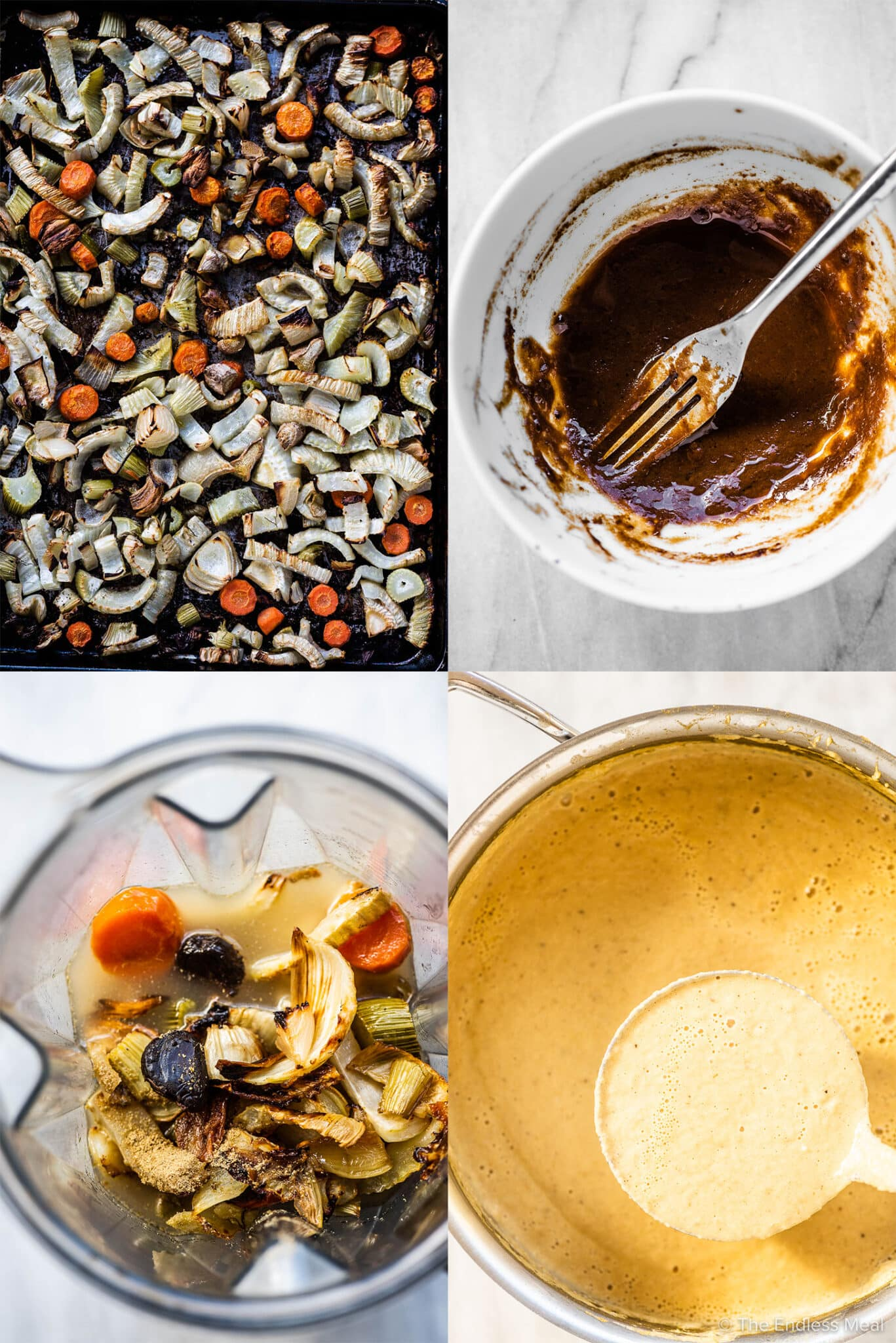4 pictures showing how to make black garlic soup.
