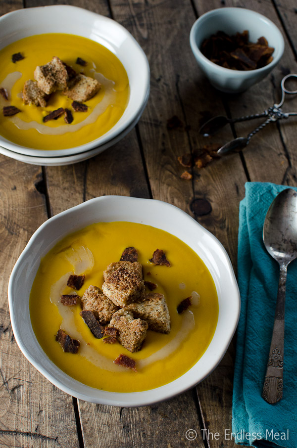 Bacon, Bourbon Sweet Potato Bisque with Cinnamon Toast Croutons