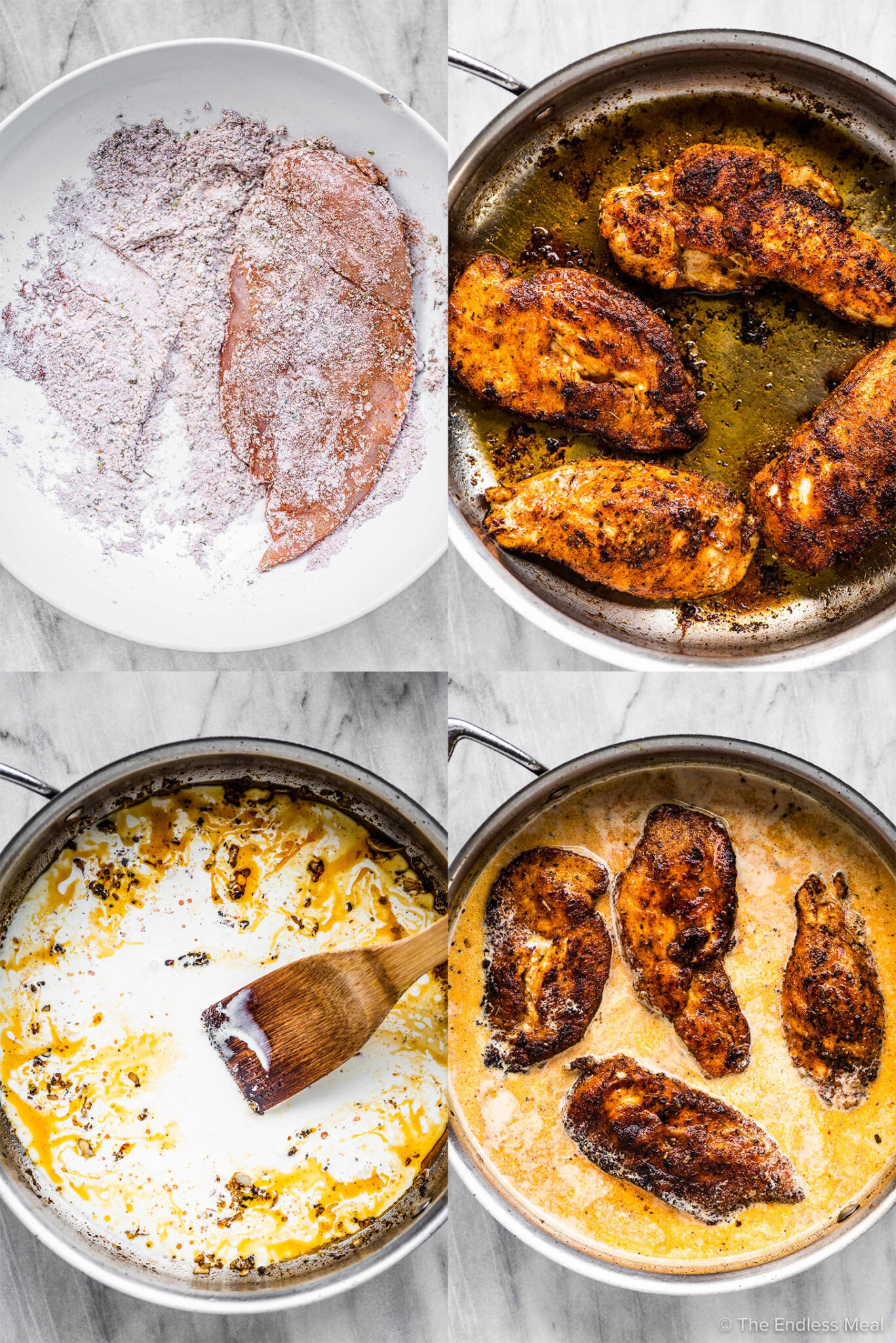 4 pictures showing how to make chicken lazone.