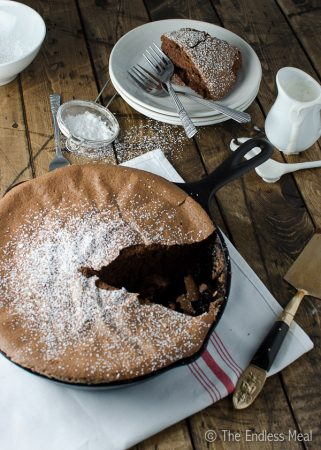 Dark Chocolate Skillet Soufflé with Tonka Bean Cream