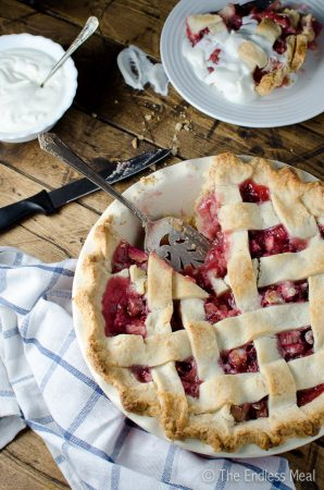 Strawberry Rhubarb Pie with Extra Flaky Pie Crust