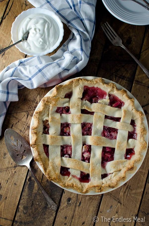 Strawberry Rhubarb Pie with Extra Flaky Pie Crust