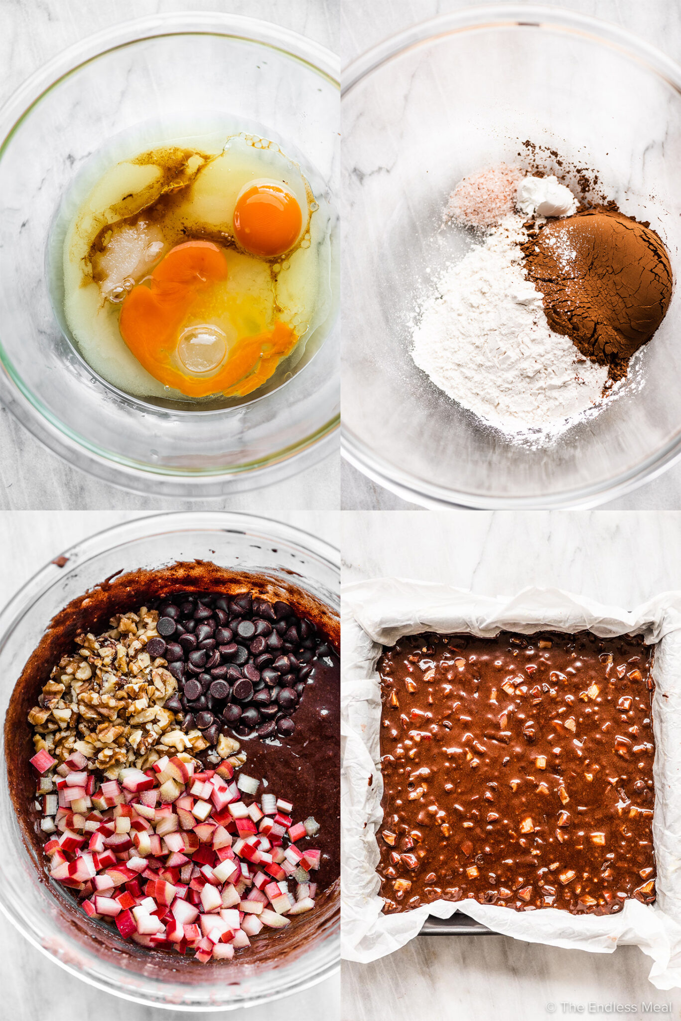 4 pictures showing how to make chocolate rhubarb brownies.