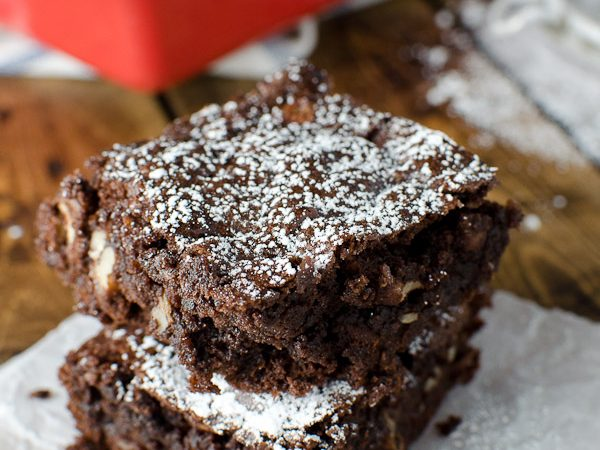 Dark Chocolate Rhubarb Brownies
