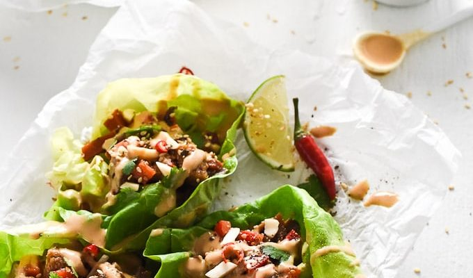 Thai Lettuce Wraps with Ginger Lime Satay by The Endless Meal | 13+ Healthy Back to School Lunch Ideas