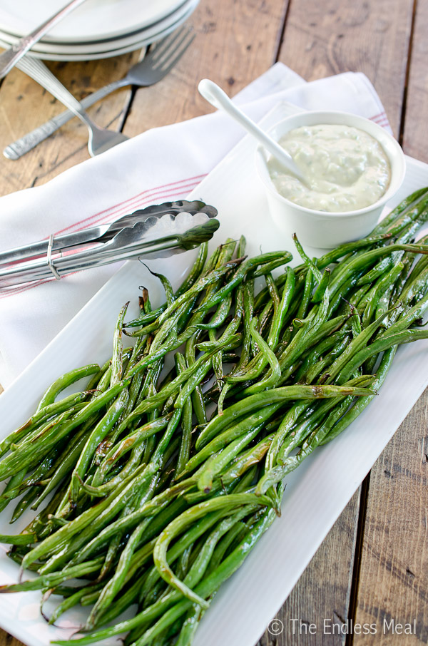 Green Beans with Garlic Scapes Aioli