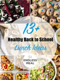 A collage of 6 heathy lunch ideas with the post title on the picture.