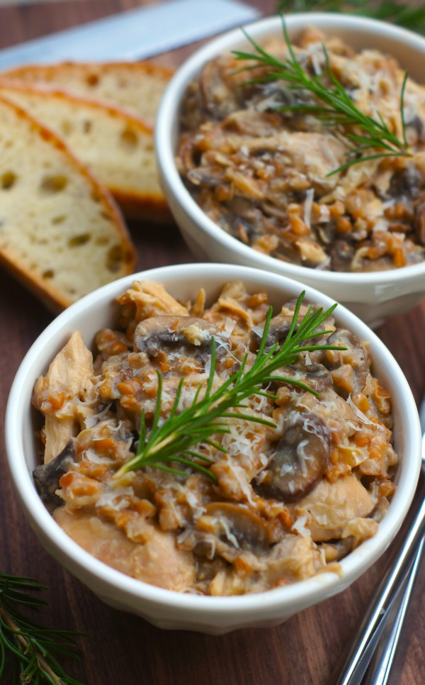 Sunday Supper :: 09.28.14 :: Slow Cooker Chicken and Mushroom Farro Risotto