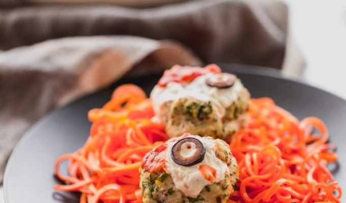 Oozing Eyeball Meatballs and Sweet Potato Worms by Inspiralized | Halloween Dinner Party Menu Inspiration