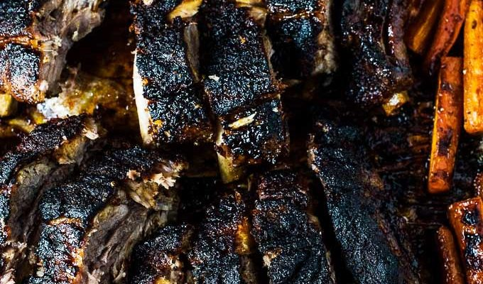 Blackened Ribs and Caramelized Carrots by The Endless Meal | Halloween Dinner Party Menu Inspiration