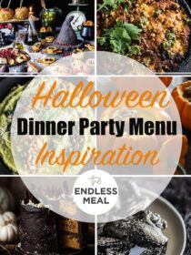 A collage of 6 halloween dinner recipes with the post title on top of the picture.