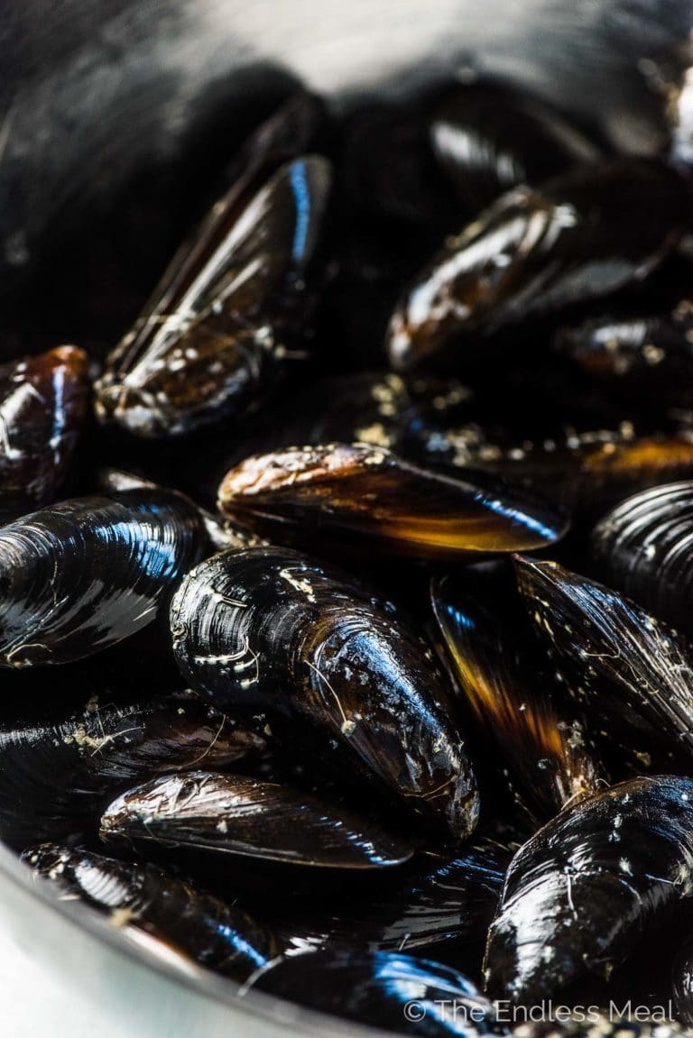 A bowl of fresh mussels ready to be made into moules frites.