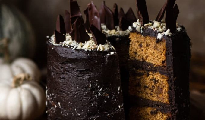Chocolate Bourbon Pumpkin Cake by Two Cups Flour | Halloween Dinner Party Menu Inspiration